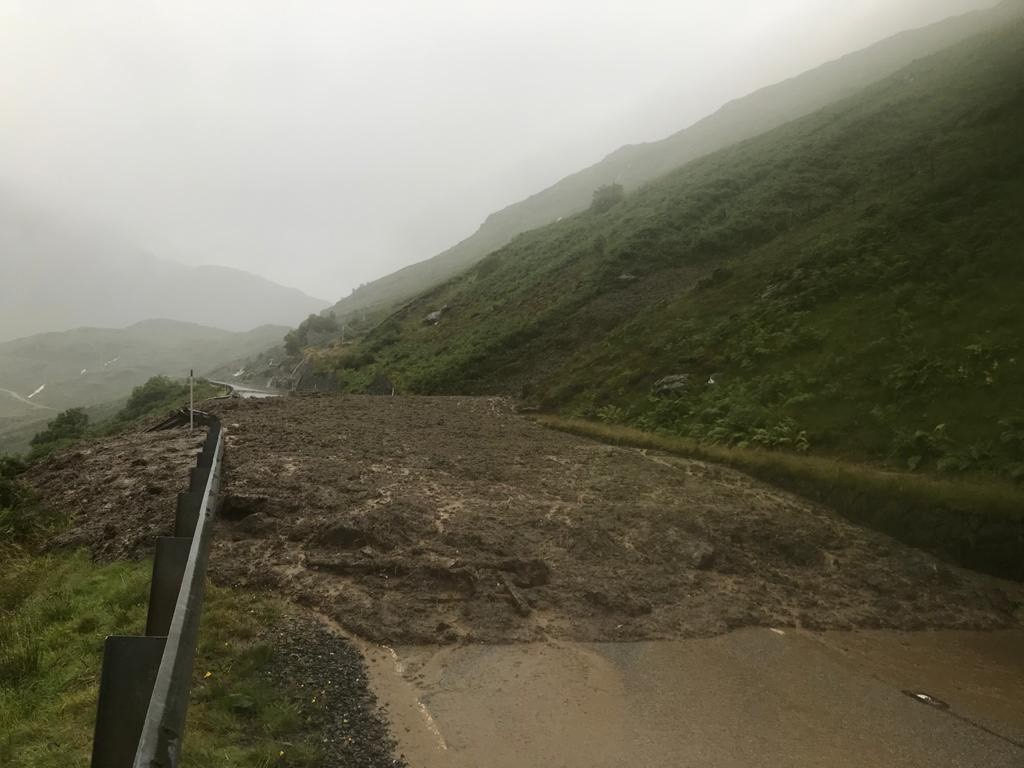 BEAR Scotland - A83 Rest and Be Thankful - Debris on the A83 following multiple landslips.