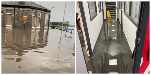 Flooding at Pittodrie yesterday.