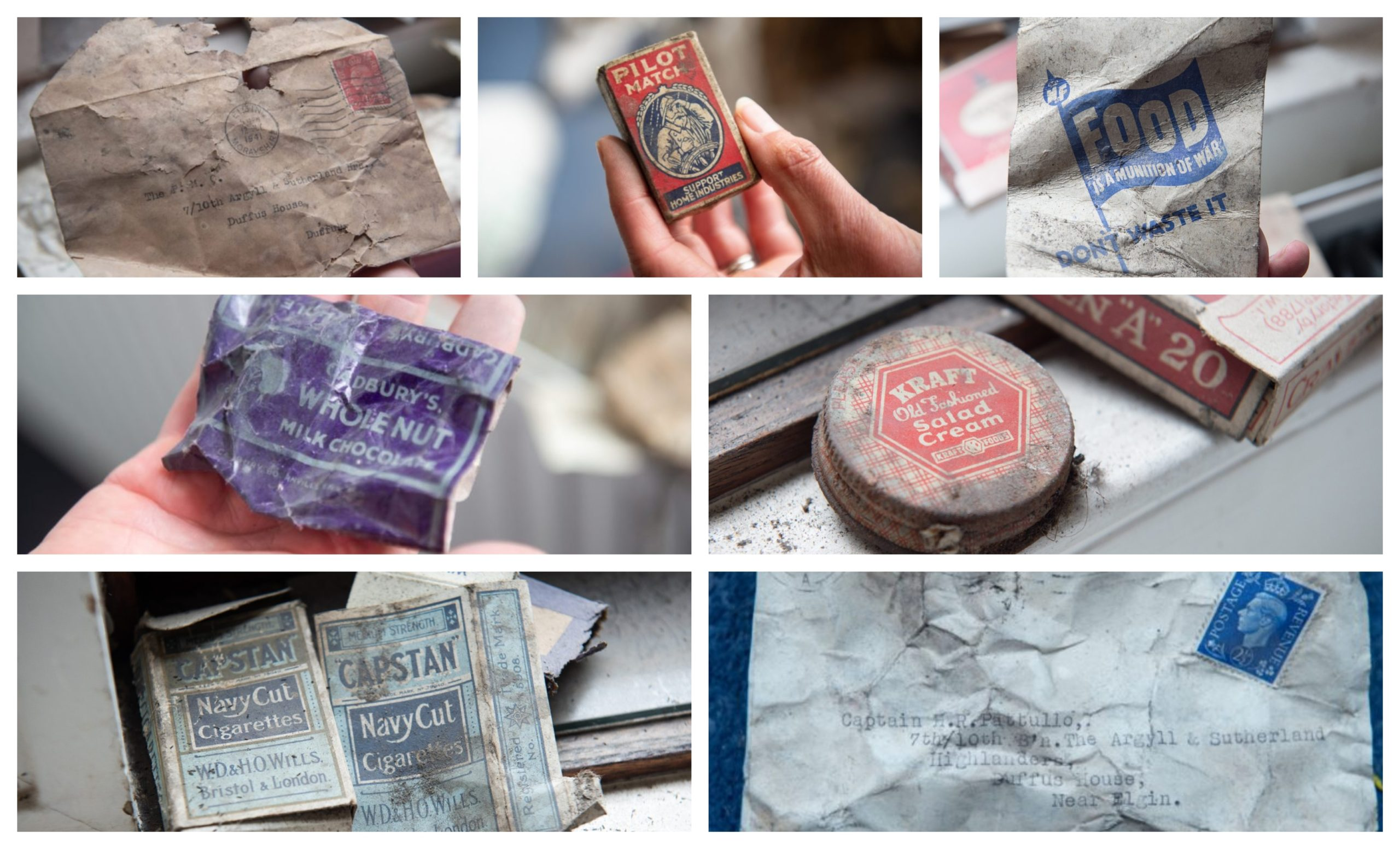 Secret messages, chocolate bar wrappers and cigarette packets were found under the floorboards at Duffus House. Pictures by Jason Hedges.