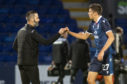 Ross County manager Stuart Kettlewell (left) congratulates goalscorer Ross Stewart at full-time.