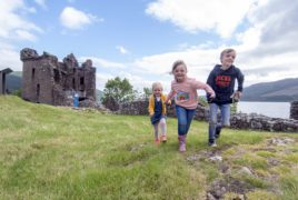 Ellie (3) and Archie (8) Robertson, from Edinburgh, with their cousin Sophia MacDonald, among the first to visit Urquhart Castle.