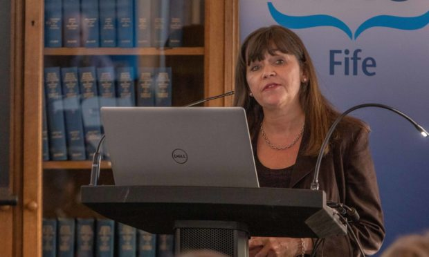 Mental Health Minister Clare Haughey speaking at an NHS annual review in Fife. Picture by Steven Brown