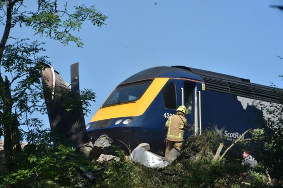 A train derailed near Stonehaven.  Pictures by Darrell Benns 12/08/2020.