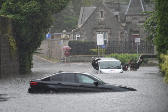 Flooding near Duthie Park, Aberdeen, following a night of storms across the country.  Pic by Darrell Benns 12/08/2020.