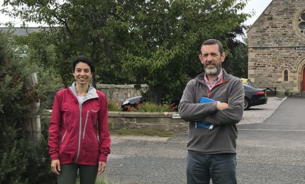 Finderne Development Trust development manager, Pery Zakeri, and Joe Gribben, community-led housing officer at Community Housing Scotland, at Brockloch.