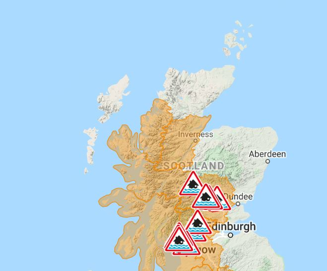 Flood alerts have been issued across Scotland.