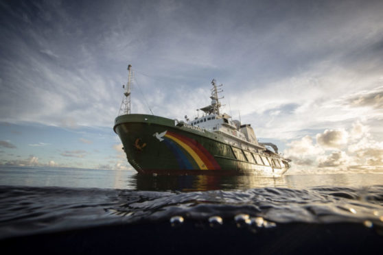 Greenpeace's Esperanza ship has been spotted sailing in the North Sea today.