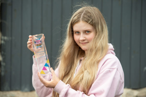 Rothes youngster Hannah Weir won the Community Award from The Young Scots Awards 2020 for her charity work.  Picture by Jason Hedges.