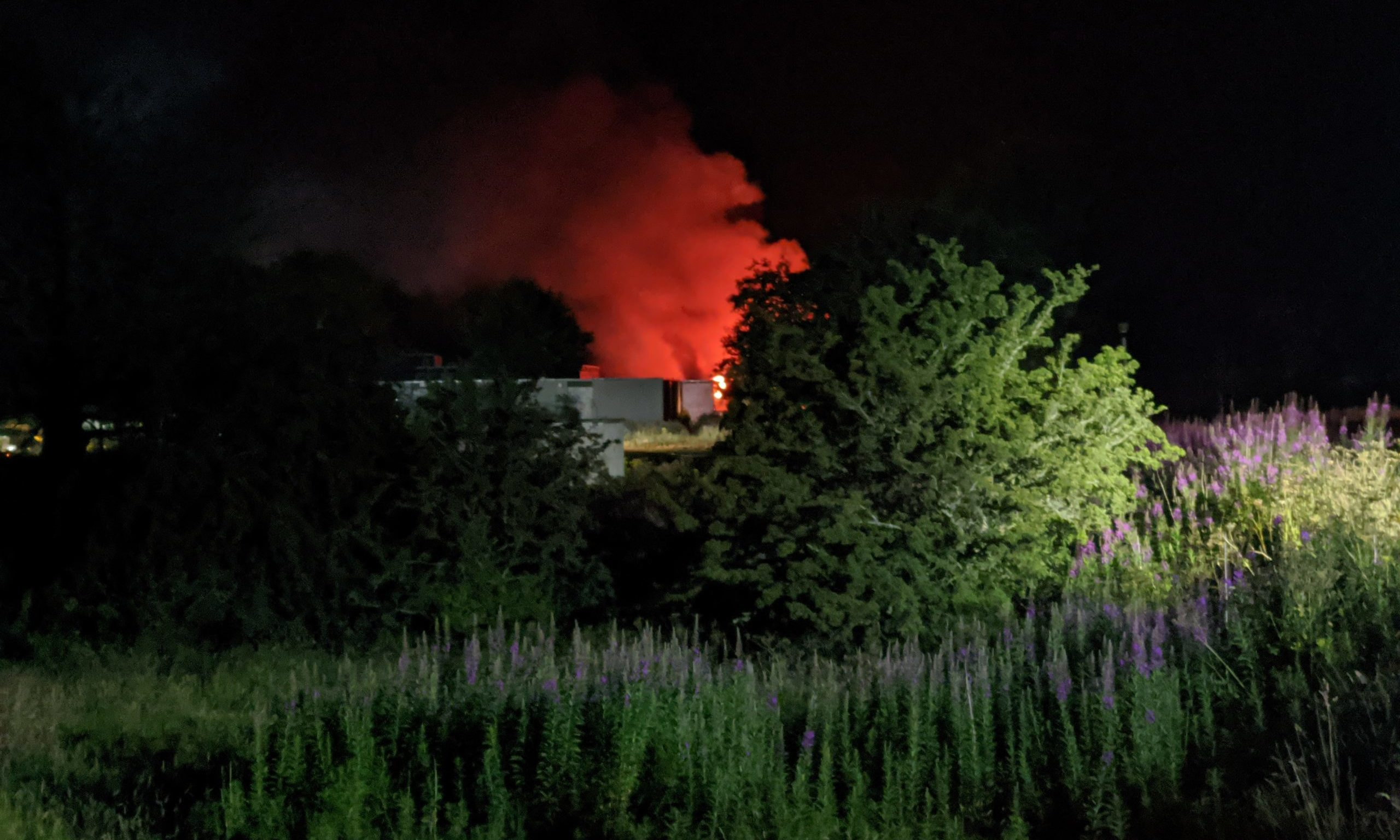 The fire at the former Cordyce School last night. Picture by Kirsten Robertson