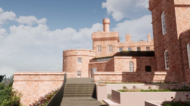 Visualisation. Artist's impression of how the buildings at Inverness Castle may be transformed as the site is developed into a new visitor attraction.    The proposals for the castle?s transformation will include the creation of a one storey building to link the two towers of the castle and create new opportunities to maximise the views from the west side (river-side) of the building. The proposed new link building will also create a wonderful, light space for visitors to the refurbished building.  Picture shows; Artist?s impressions of Inverness Castle transformation. Inverness. Courtesy The Highland Council  Date; 13/08/2020