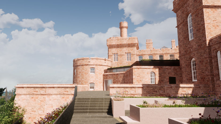 Artists impression of Inverness Castle: Exterior of building.