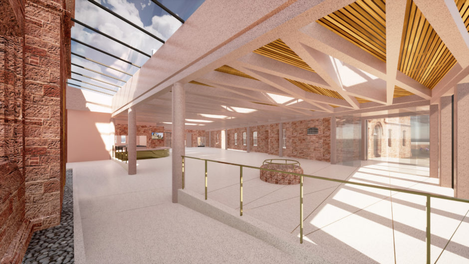 Artists impression of Inverness Castle: Interior of building.