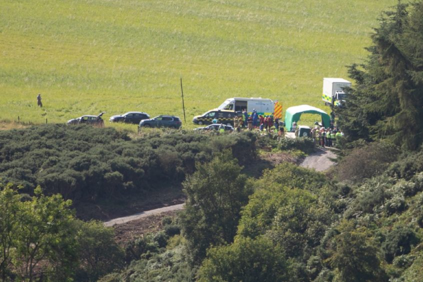 Picture shows some of the emergency services at the scene near Stonehaven.