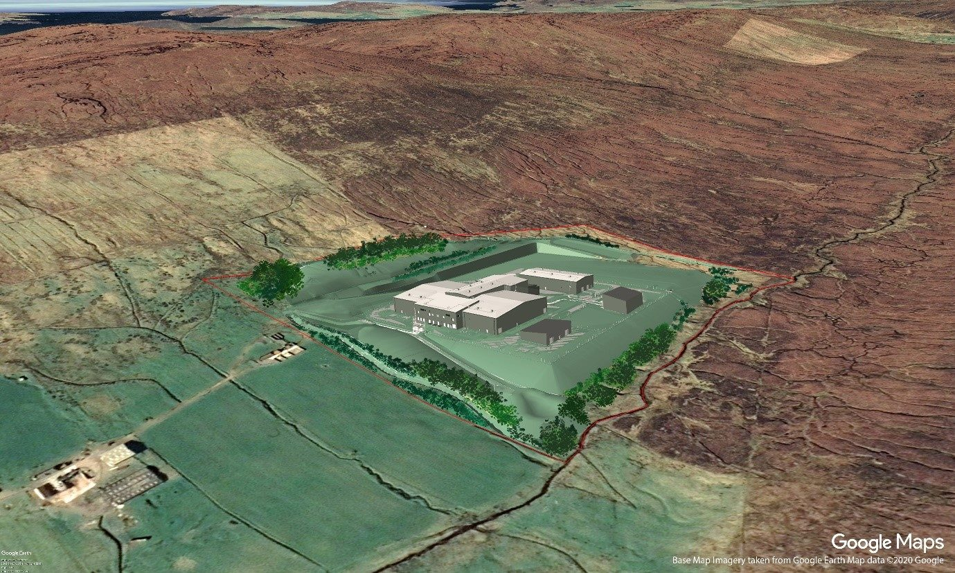 A visualisation of what the Kergord HVDC Converter Station and AC substation will look like