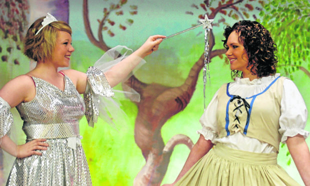 Nicki Vass as the Fairy Godmother and Rachel Forbes as Cinderella in a Culter Theatre Group pantomime. Picture by Raymond Besant