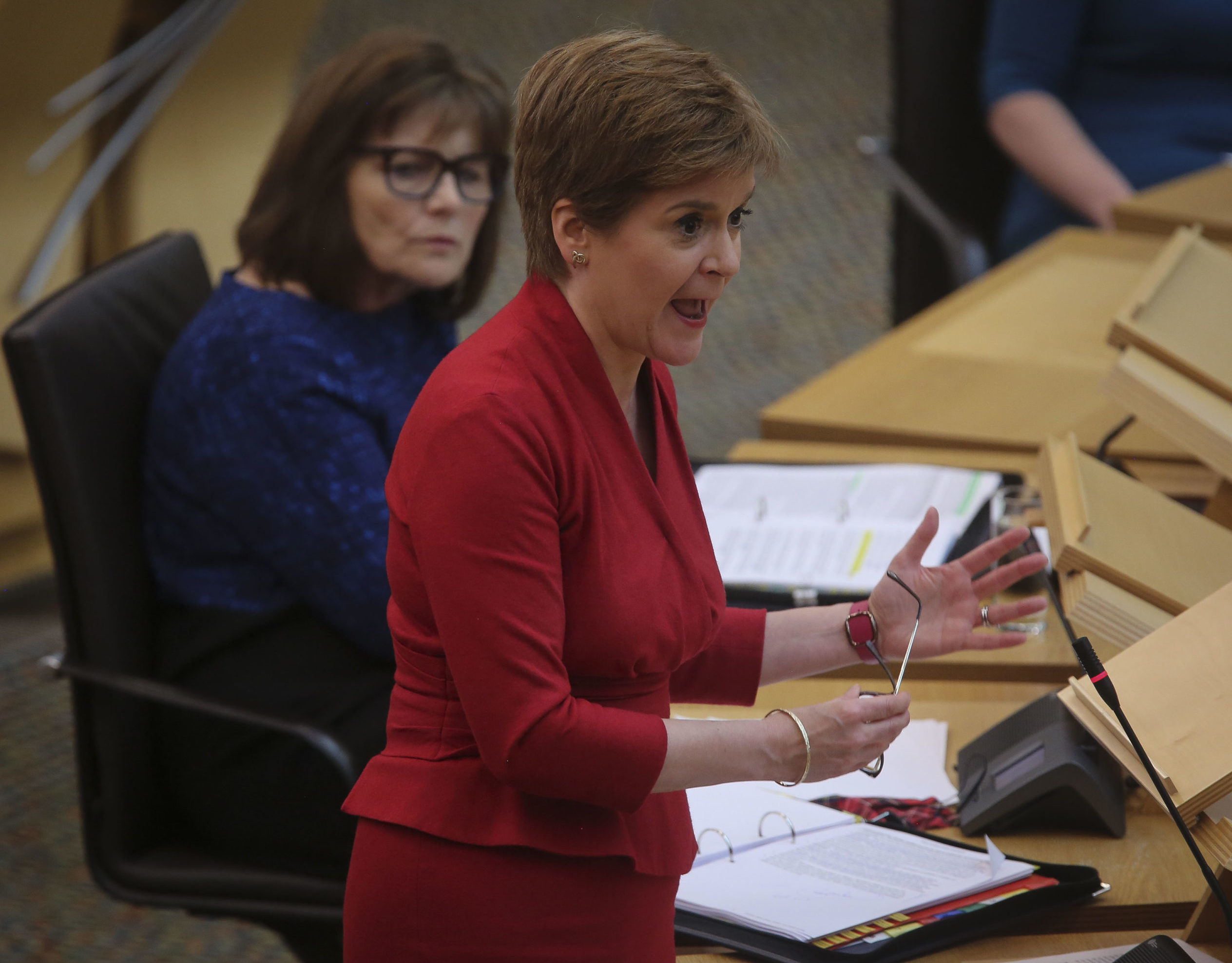 First Minister Nicola Sturgeon and Health Secretary Jeane Freeman during First Minister's Questions on August 26.