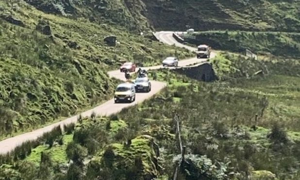 The Old Military road was shut due to heavy rain in August 2020.
