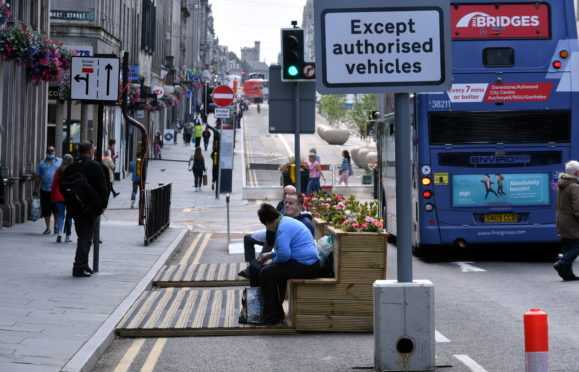 Union Street during Aberdeen's second lockdown in August 2020. Picture by Chris Sumner