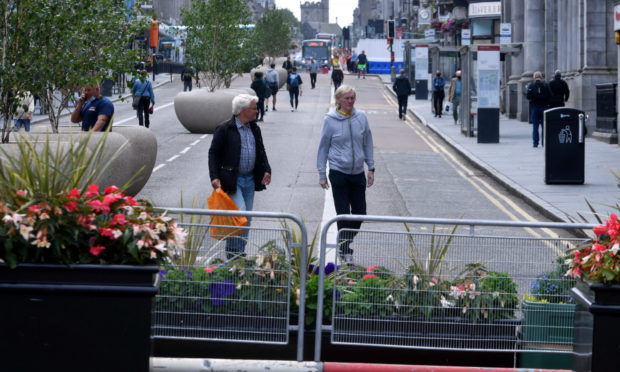 Union Street, between Bridge Street and Market Street, has been completely pedestrianised as part of Spaces For People work in Aberdeen.