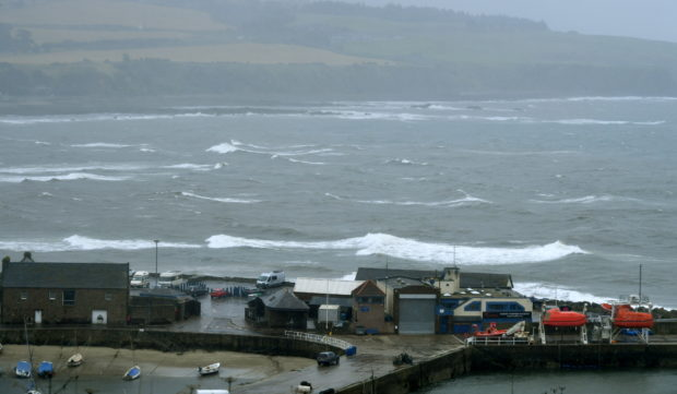 A stormy tide could be seen coming in at Stonehaven. Picture by Chris Sumner Taken...............25/08/20