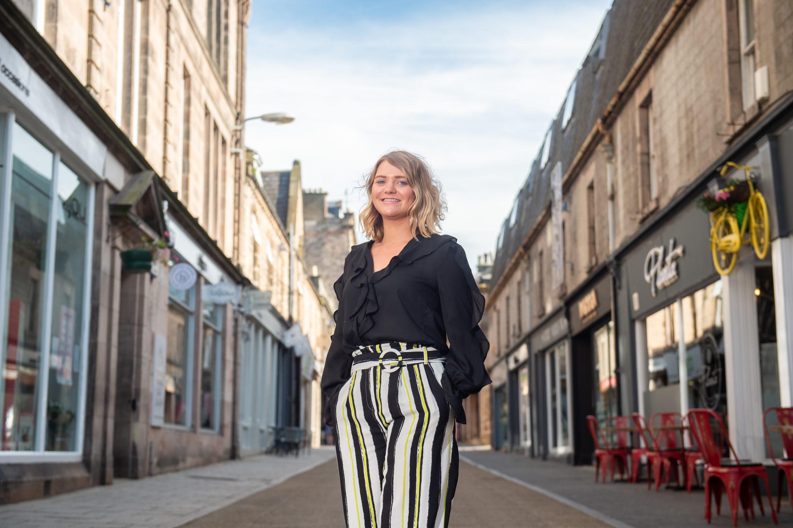 "Elgin BID boss Gemma Cruickshank has revealeda increase in ""shoppers' average spend"" in Elgin town centre."