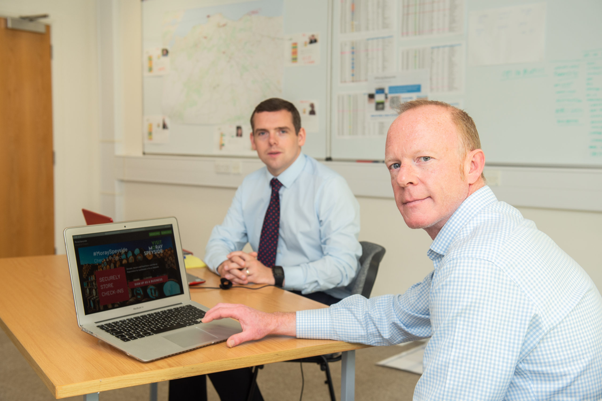 Moray MP Douglas Ross joins Laurie Piper, chief executive of Visit Moray Speyside, as they hold a joint virtual conference with Moray tourism industry representatives. Picture by Jason Hedges