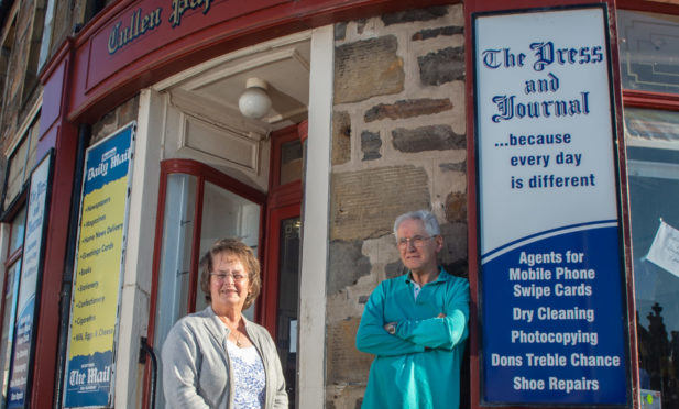 Popular Cullen paper shop owners Alex and Moira Legge. Picture by Jason Hedges.