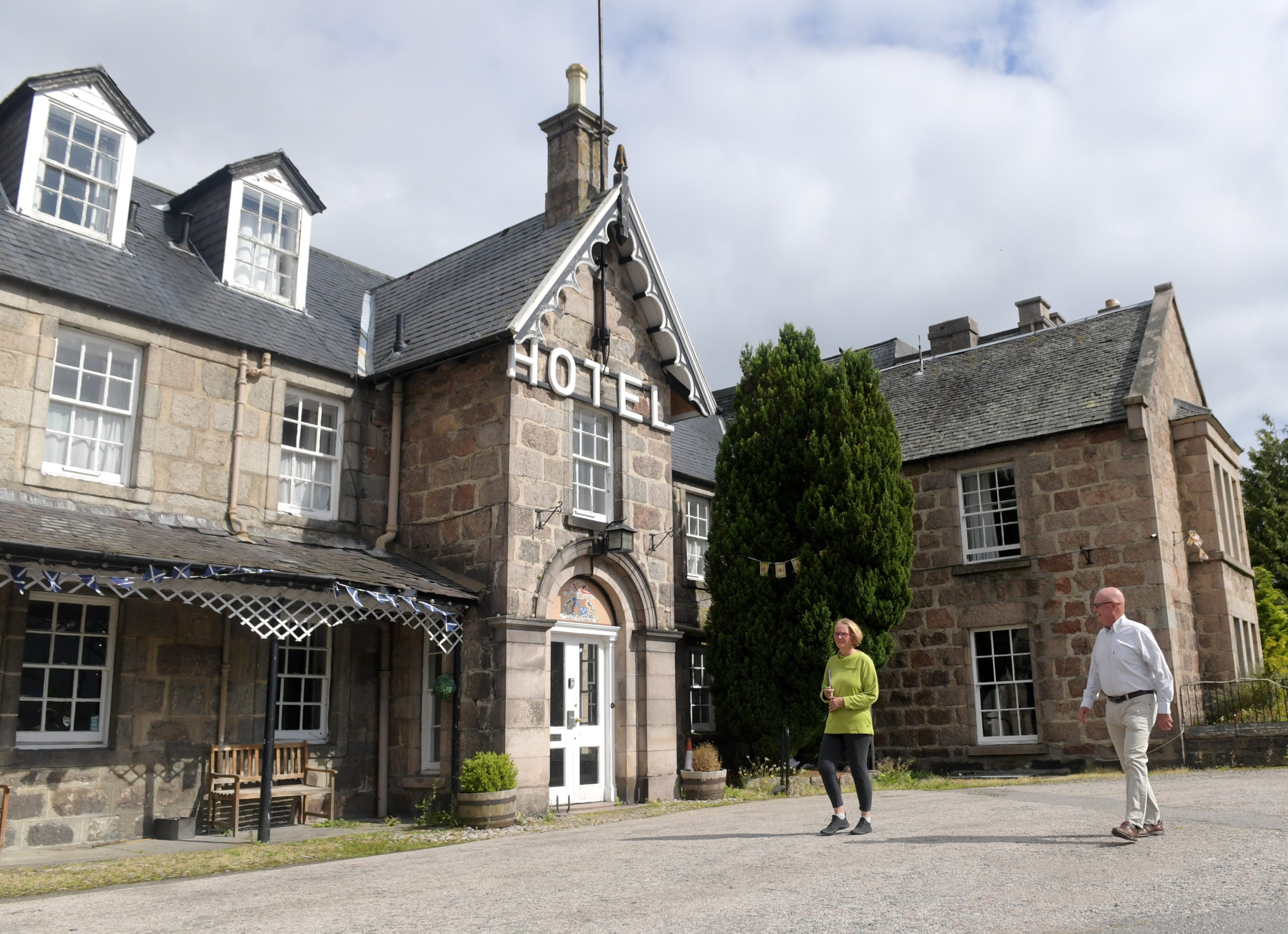 At the Huntly Arms, Aboyne, are Claire Fraser and Dave Marshall, who are part of the steering group attempting to secure a bright future for the 500-year-old hotel. Picture by Kath Flannery