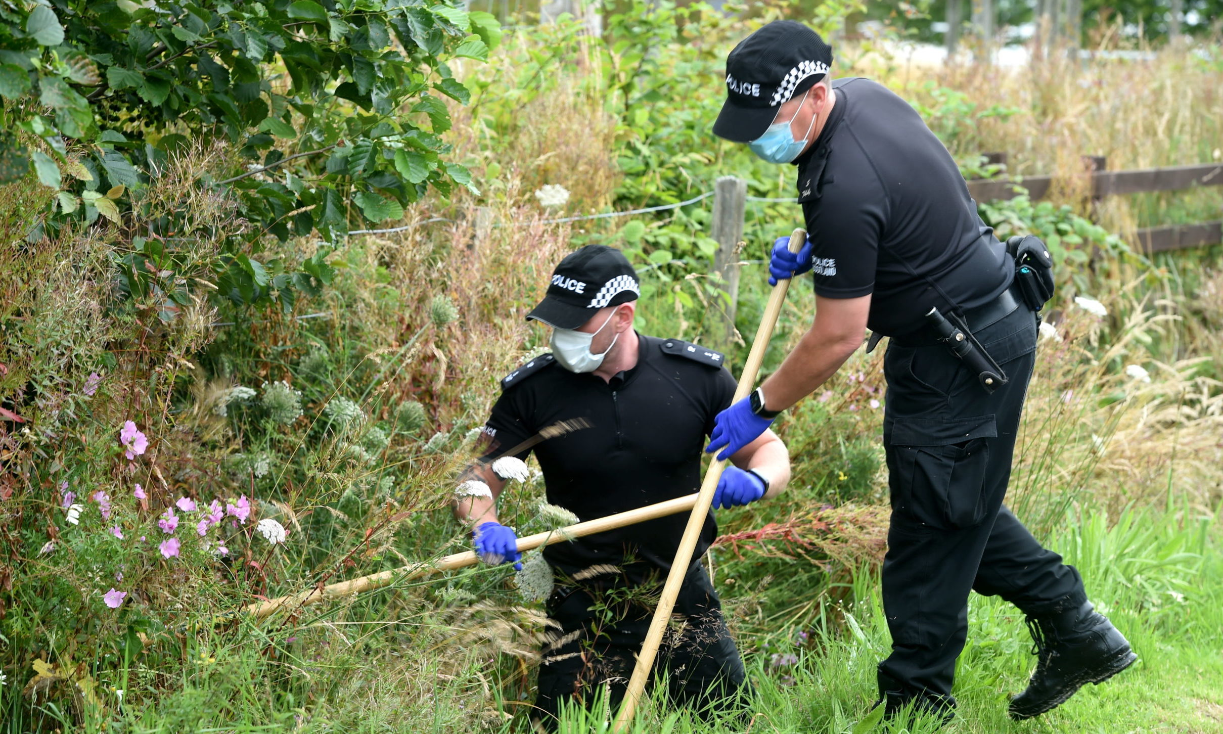 Police search the verges and undergrowth close to the scene of the incident. Picture by Sandy McCook