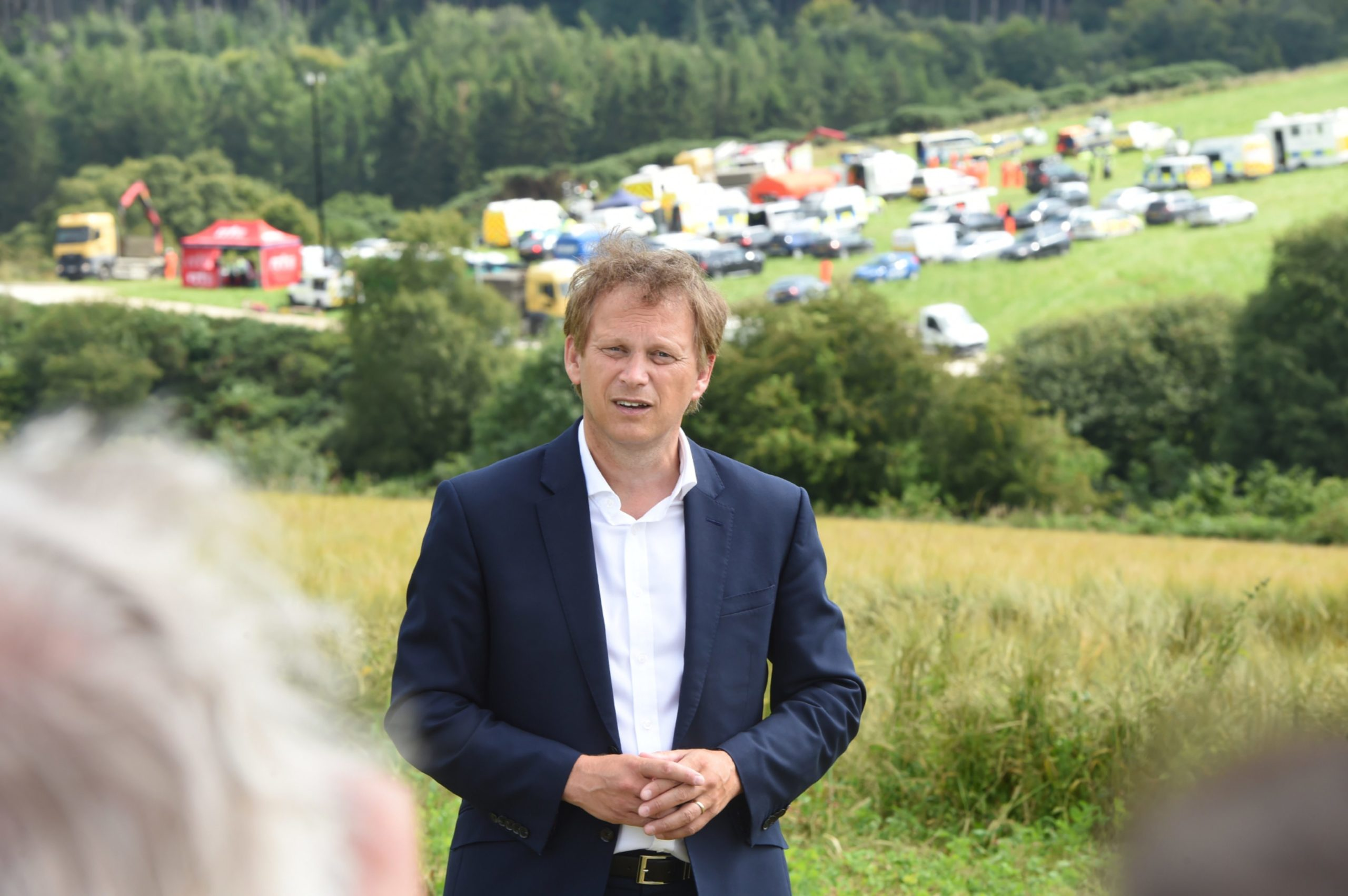 Grant Shapps Secretary of State for Transport speaking with the media at Stonehaven. Pictures by Darrell Benns.