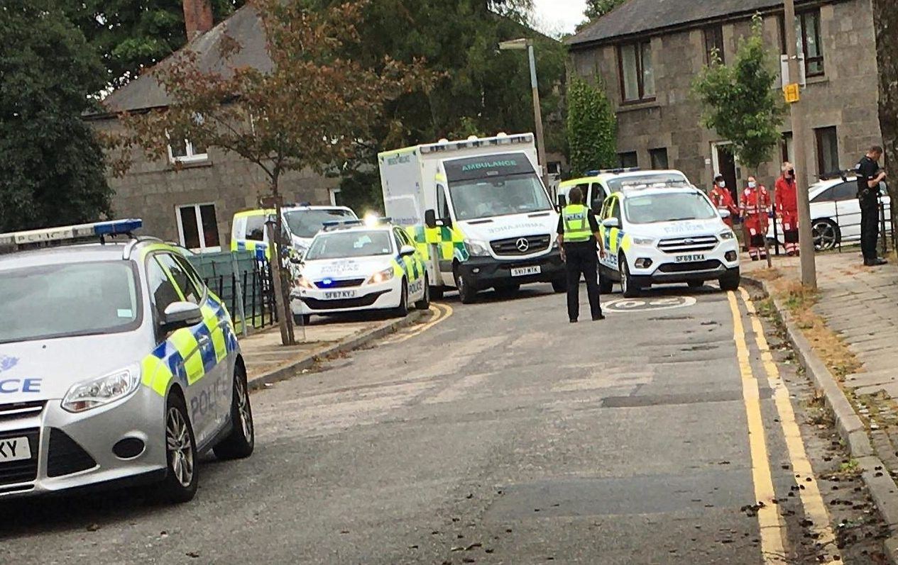 Police presence at Ruthrieston Circle, Aberdeen.  Courtesy Gregor McAbery