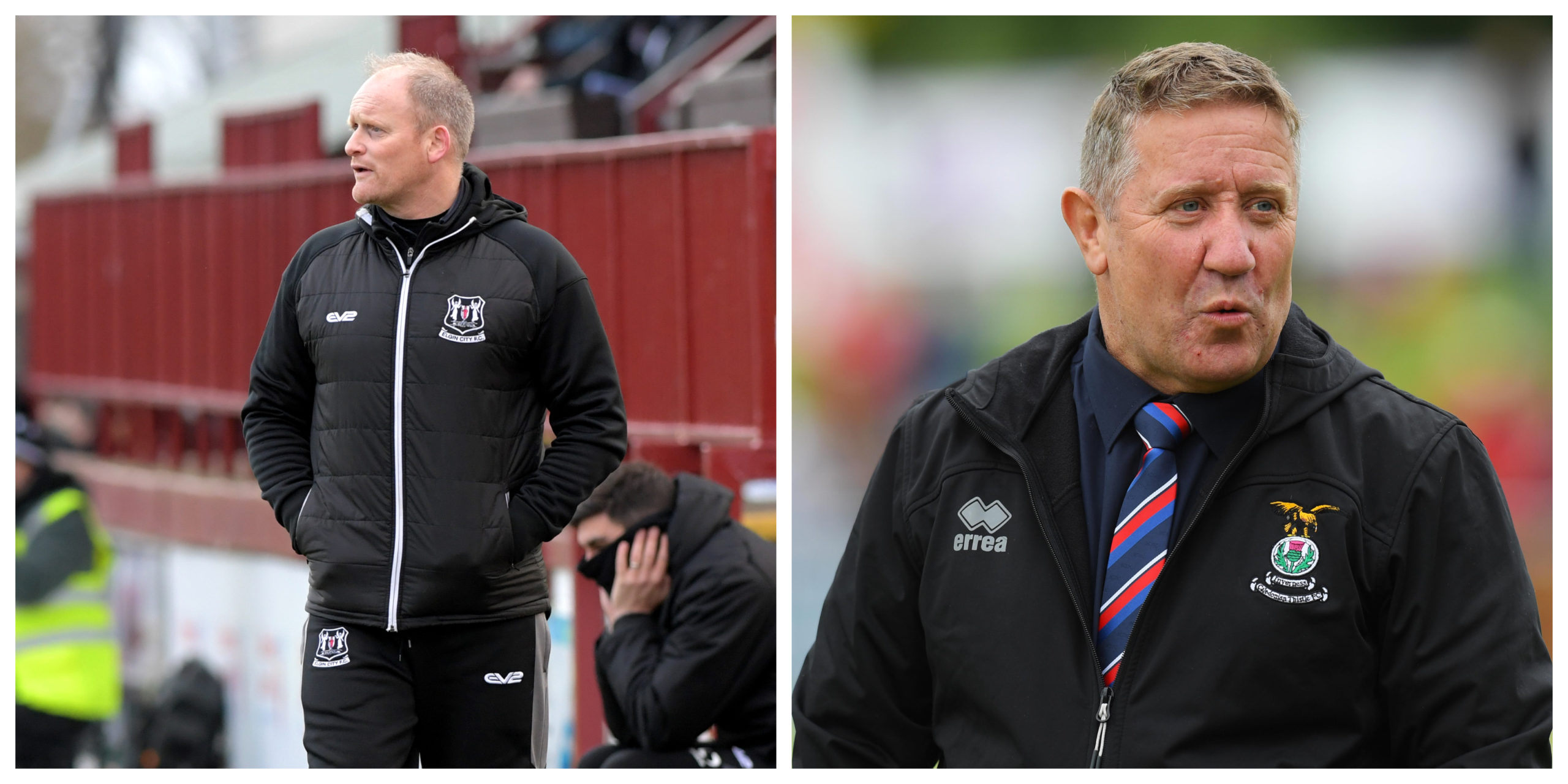 Elgin City manager Gavin Price, and Caley Thistle manager John Robertson.