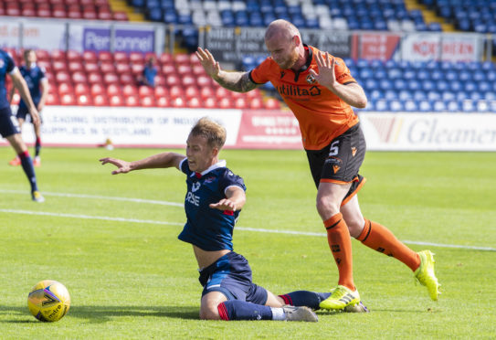 Harry Paton was booked for diving against Dundee United.
