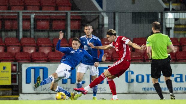 Aberdeen's Ryan Hedges scores the winning goal at St Johnstone.
