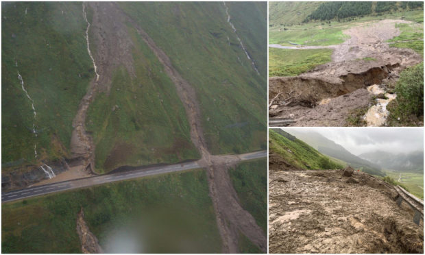 Thousands of tonnes of debris have been brought down onto the A83 and Old Military Roads