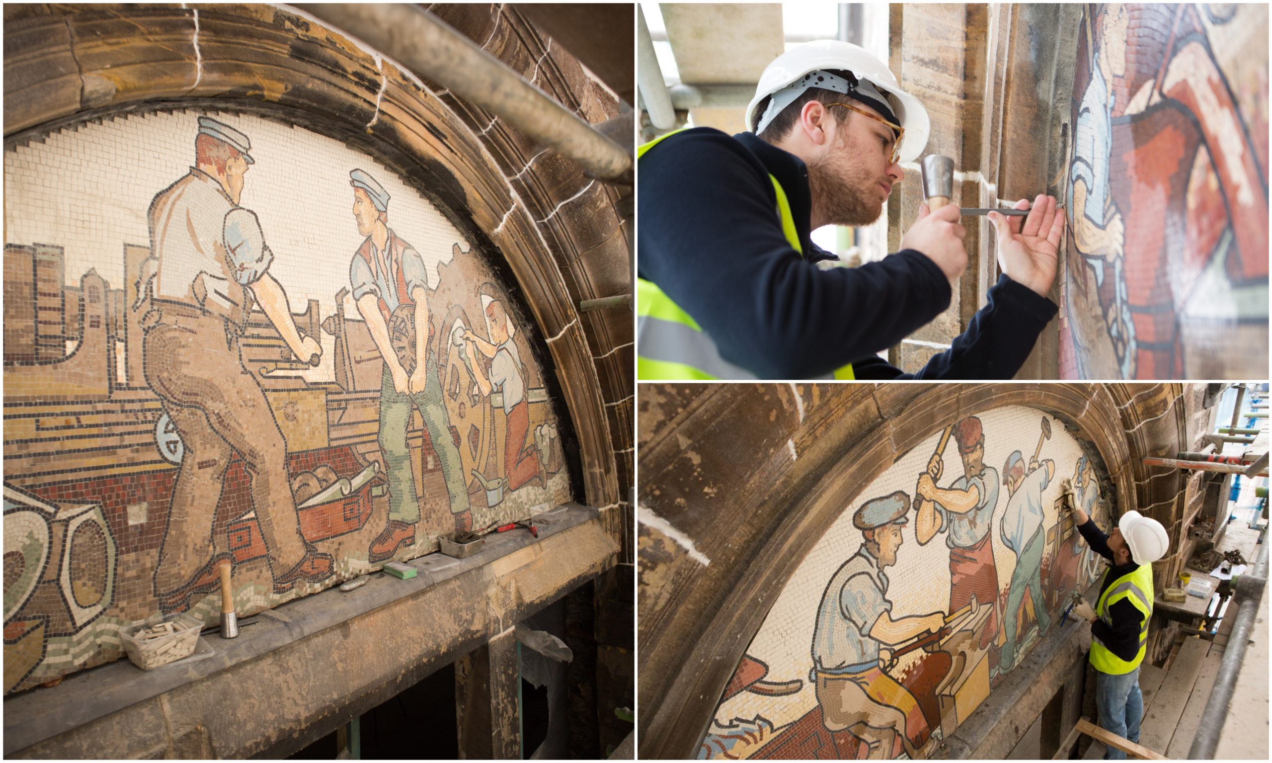 The mosaics at 96 Academy Street have been restored with precise detail