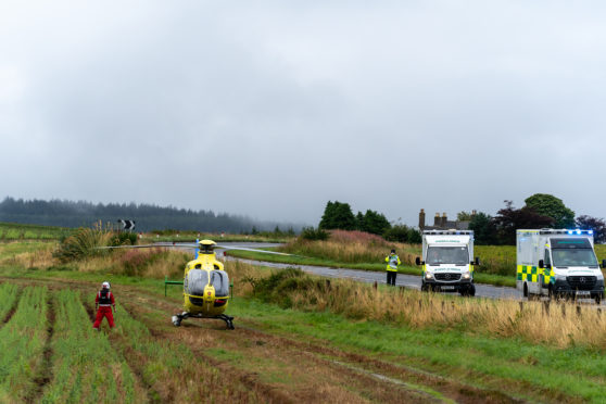 The scene on the A98 at Mill of Tynet