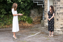 The Duchess of Cambridge meeting AberNecessities CEO Danielle Flecher-Horn.