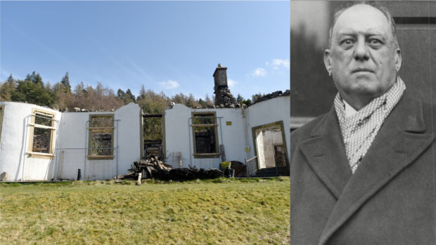 Boleskine House, left, and Aleister Crowley, right