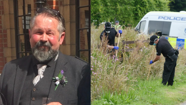 John Birrell, left and police at the scene in Inverness