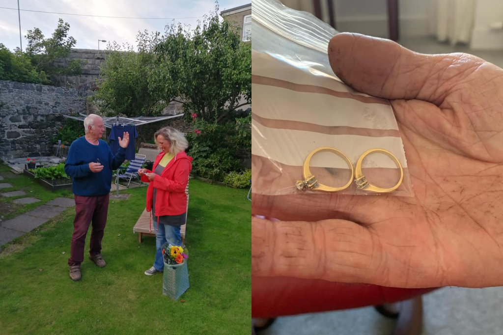 John Strachan found Christine Mathieson's rings in time for her wedding anniversary.
