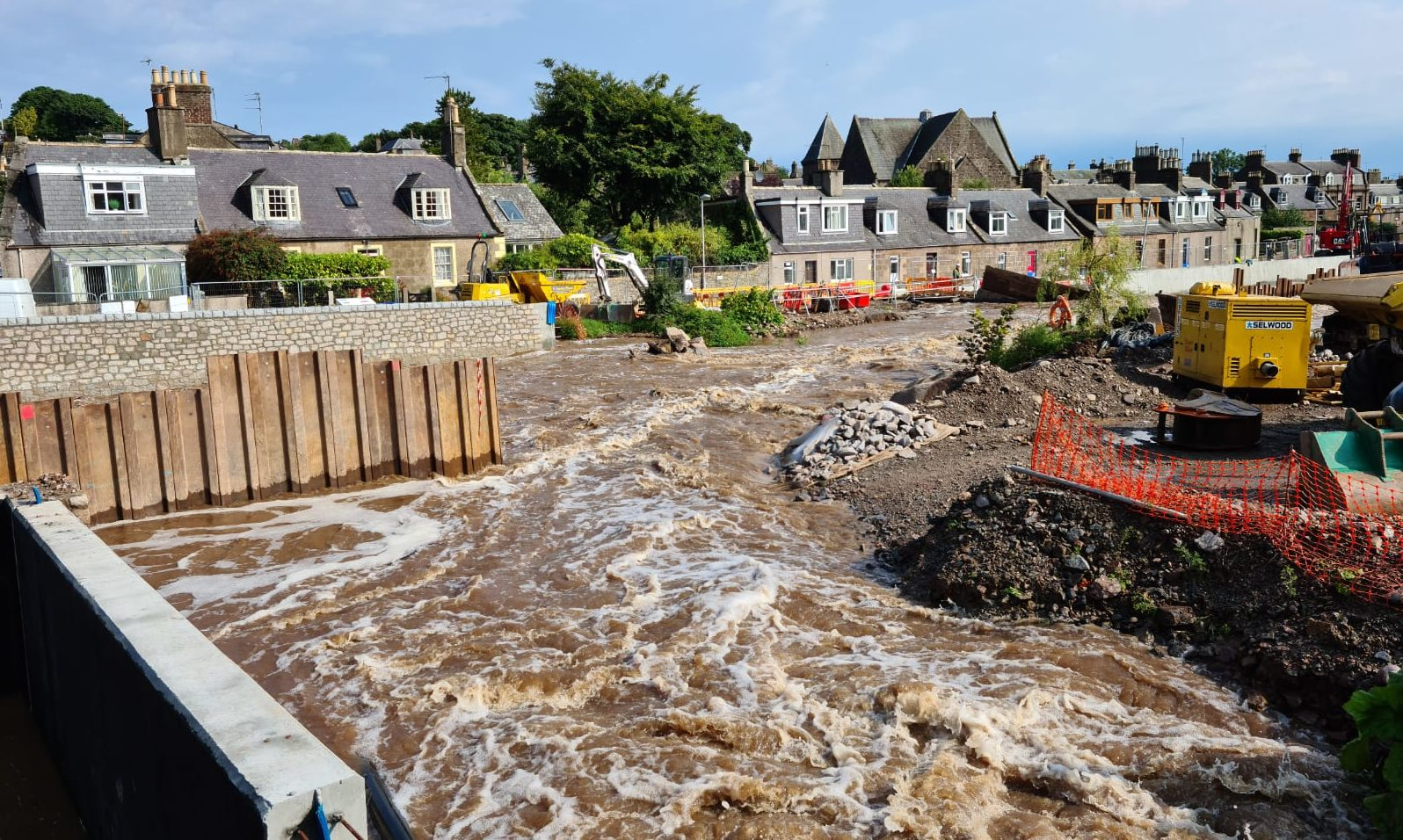 The torrential rain raised the water levels of the Carron river on August 12.
