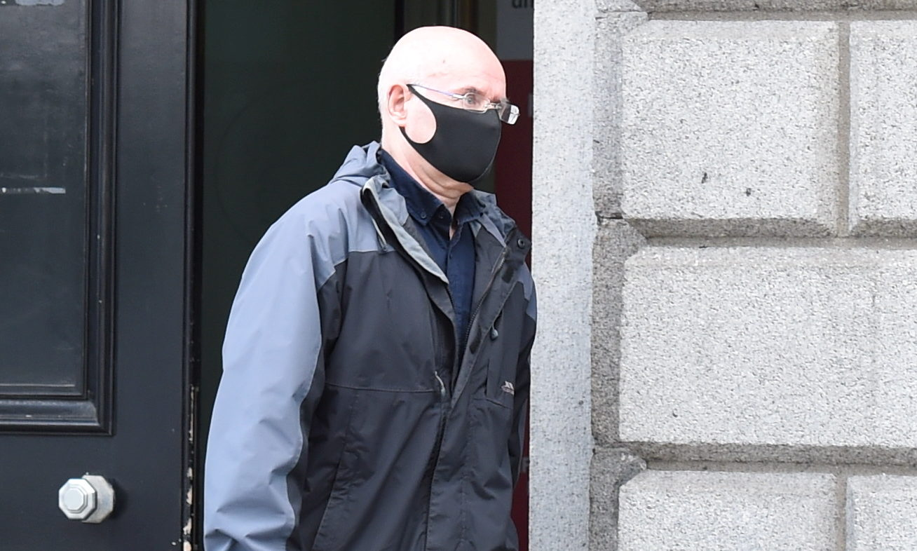 William Pirie leaving Aberdeen Sheriff Court.