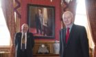 A portrait of former Lord Provost George Adam has been unveiled Picture shows; Barney Crockett and George Adam. Aberdeen City Council. Courtesy Aberdeen City Council Date; 27/08/2020