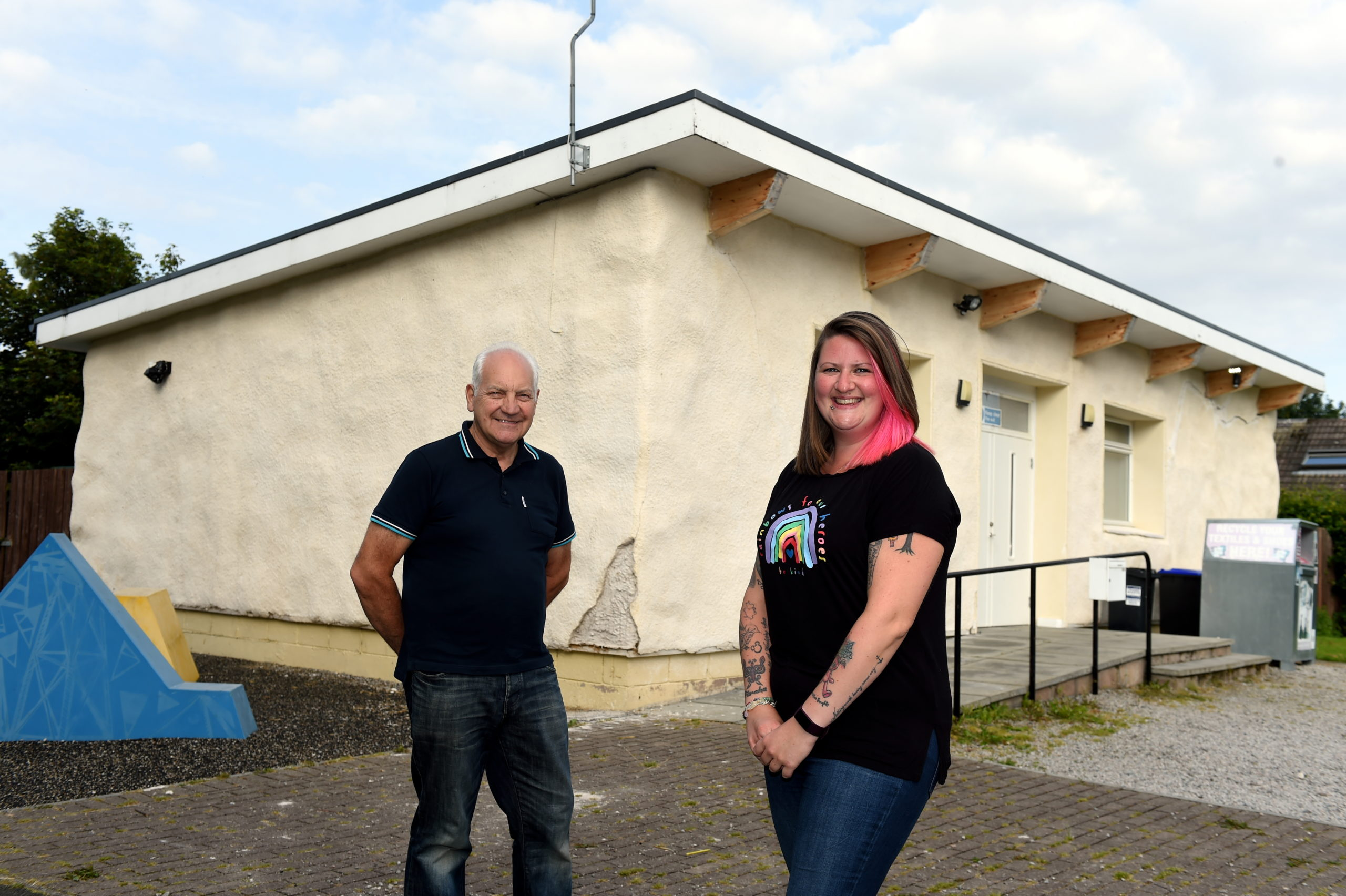 CR0022992 The Bothie youth club in Kintore was vandalised last month. The repairs cost £200, but a community appeal brought in £700. Picture of Brian Johnstone (chairman of Action Kintore) and youth worker Rachel Lewis.   Picture by Kenny Elrick     10/08/2020