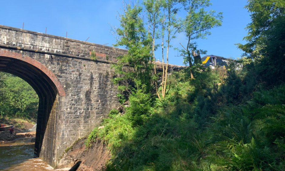 Pictures taken from the site of the derailed train near Stonehaven.