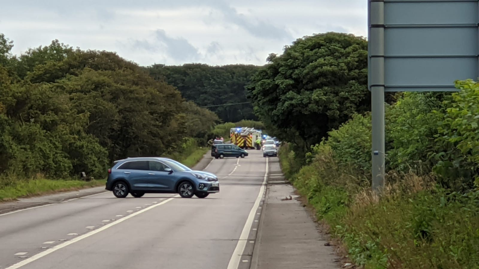 Emergency services at the scene of the crash on the A90