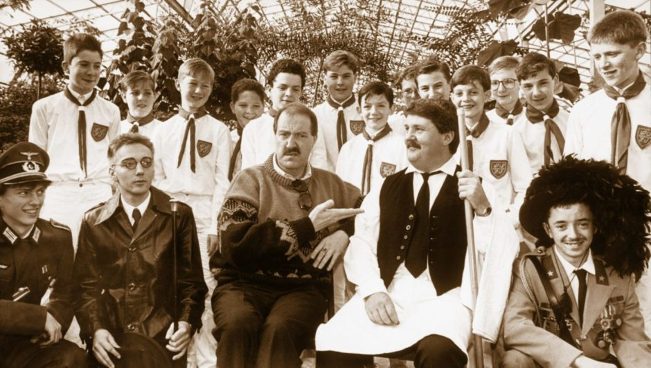 'Allo, 'Allo star Gorden Kaye is bemused with the antics of Scout Gang Show actor Ian Dow as he prepared a sketch for their next show at His Majesty's Theatre. Ian and the lads took advantage of Gorden's city visit to help them prepare for their performance.