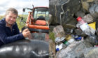Durness farmer James Mather, left, and litter left behind by wild campers.