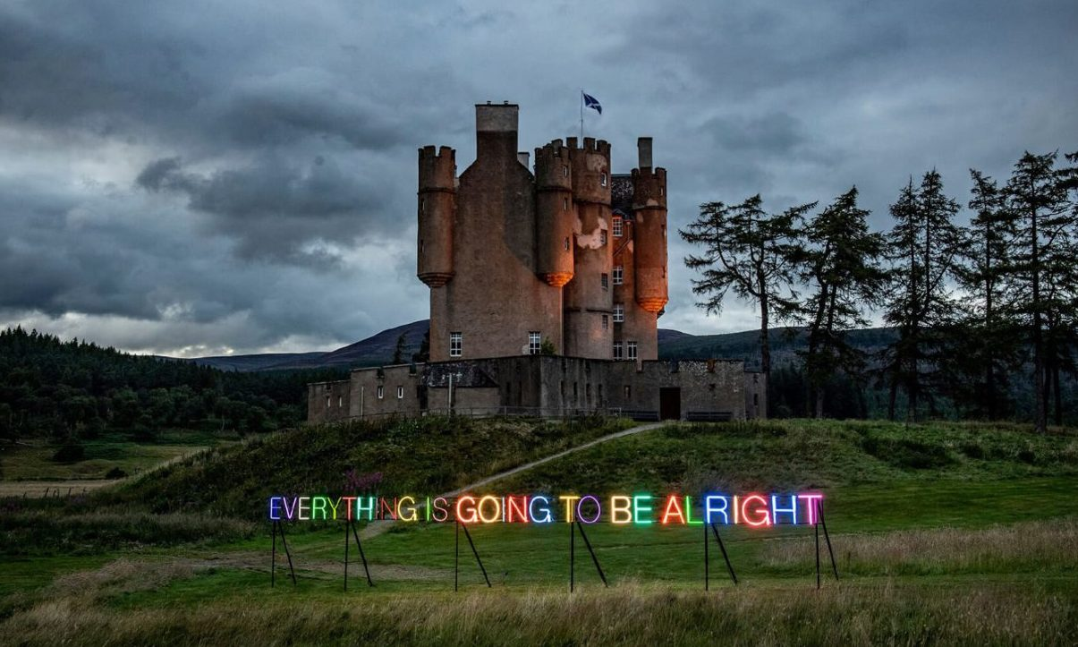 Work No. 3435: EVERYTHING IS GOING TO BE  ALRIGHT by Turner Prize winner Martin Creed at Braemar Castle.